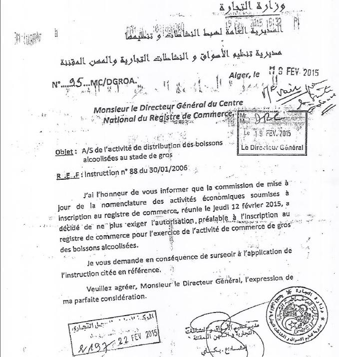Vente D Alcools En Gros Fin De L Autorisation Prealable Tsa Algerie